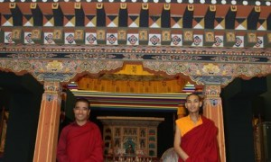 "Bhutanese monks that safeguard the artwork in ""Bhutan: Heilige Kunst aus dem Himalaya"" at Museum Rietberg"