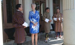Lynne Johnson with Bhutanese dignitaries
