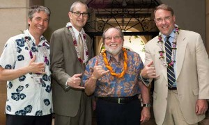 Stephan Jost, director, Honolulu Academy of Arts; Robert Frankel, director, Museums and Visual Arts, National Endowment for the Arts; Gov. Abercrombie; Mark Smith, executive director Blue Star Families