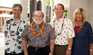 Stephan Jost, director, Honolulu Academy of Arts; Gov. Abercrombie; Ron Yamakawa, director Hawaii State Foundation for Culture and the Arts; HSFCA's newest member of the Board of Commissioners Barbara Simonetti