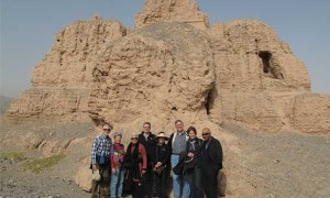 The group at the ruins of a Buddhist monastery at Subashi near Kuche, Xinjiang Province.