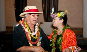 Mr Alii Noa, who danced at The Hawaiian Room 1962 to 1963, and Maile Loo of the Hula Preservation Society.