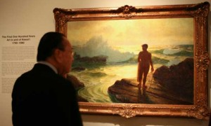 Sen. Daniel Inouye views Lionel Walden's 'Hawaiian Fisherman' (1924) in 2009.