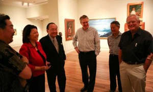 HCF president Kelvin Takeda, Irene Hirano Inouye, the senator, then museum director Stephen Little, trustee Michael Horikawa, trustee Samuel A. Cooke.