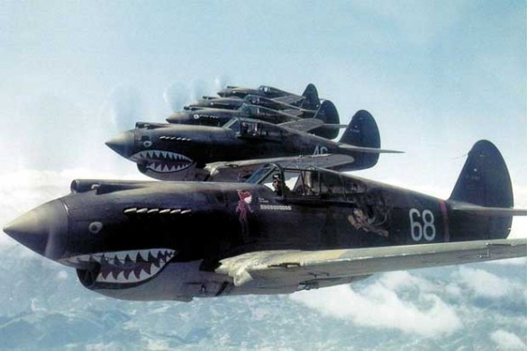 The real thing: A photograph of the famous Flying Tigers on mission over Burma in 1942. Photograph by R.T. Smith.