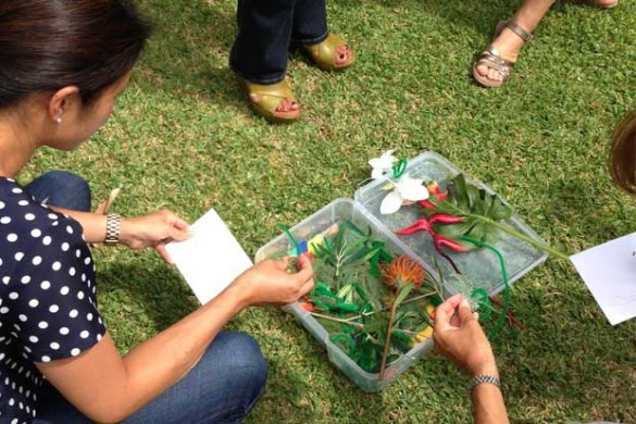 Teachers select items with which to make a sunprint.