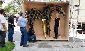 Deborah Butterfield inspects the second horse as it is uncrated.