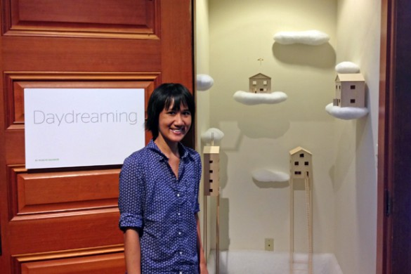 "Pearlyn Salvador next to her installation, ""Daydreaming"" in the art school's Nanogallery"