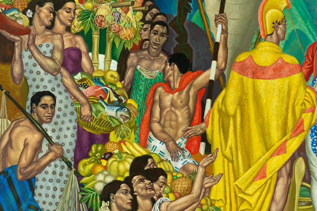 In Eugene Savage's Hawai'i, life's one big lū'au, even when a god appears (detail).