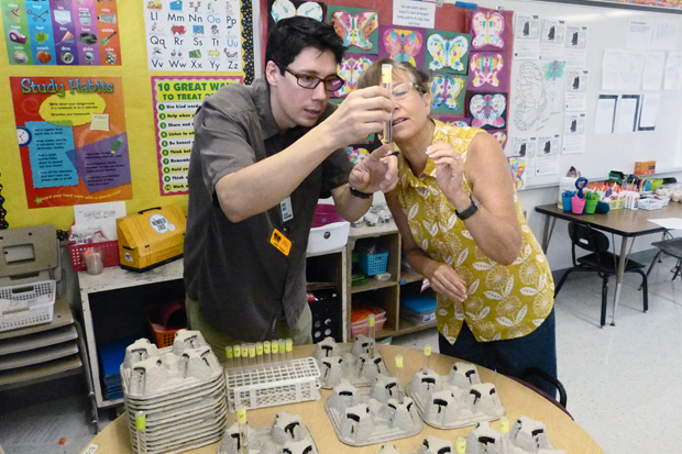 Justin Davies, the museum's outreach program manager, and artist-instructor Quala-Lynn Young prepare for the science-and-art class at Queen Ka'ahumanu Elementary School.