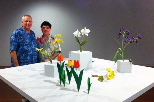 Michael LaFosse and Richard Alexander during the installation of their origami
