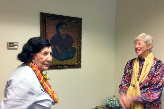 Guadalupe Rivera Marín and Bronwen Solyom with Diego Rivera's portrait of Concha Chaparro