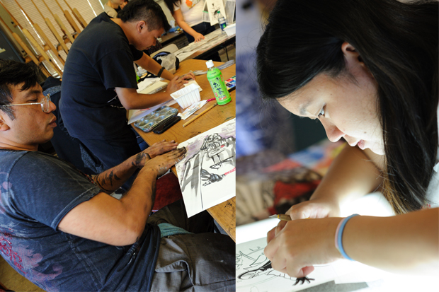 Manga master class participants Andy Lee and Mark Felizar, left, and Ginny Chang work on their own drawings.