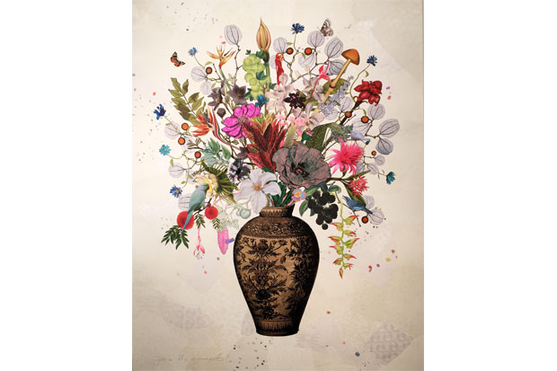 'Korean Vase with Plumeria Heliconica and Goose Berries' | Jane Hammond, 2015