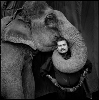 Mary Ellen Mark (American, born 1941). Ram Prakash Singh with His Elephant Shyama, Great Golden Circus, Ahmedabad, India, from the series Indian Circus, 1990. Platinum print. Gift of Mr. and Mrs. Gulab Watumull, 1994.