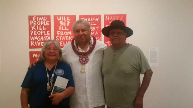 At Edgar Heap of Birds' gallery talk: Edgar poses with Mary and Camillus Lopez, tribal leaders of the Tohono O' odham Nation of southern Arizona.