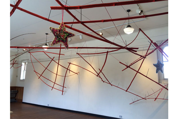 A view of Moana Nepia's 'Arc: Charting the Path of Celestial Bodies' in the Art School mezzanine.