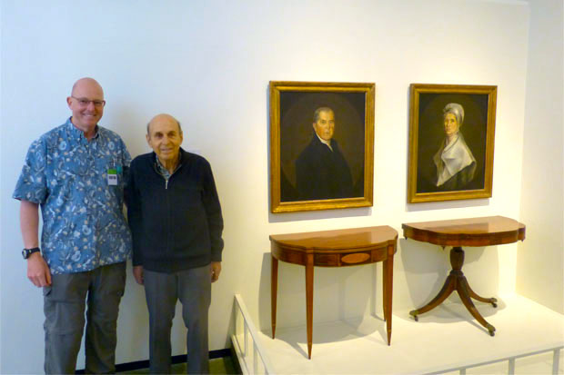 Since they were here, we had Lachlan and Ian Cooke pose with portraits of their ancestors, Joseph Platt Cooke and Harriet Emily Wilder.