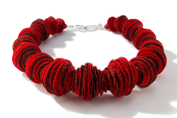 Joomchi red stacked necklace with sterling findings $230