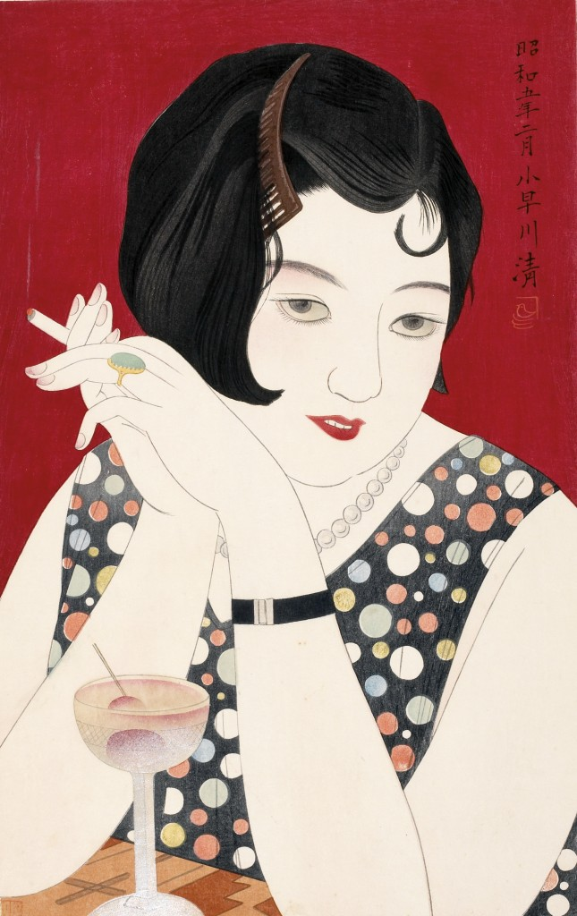 Kobayakawa Kiyoshi (1889 - 1948) Tipsy From the series Modern Styles of Women Japan, 1930 Woodblock print; ink and color on paper Gift of Philip H. Roach, Jr., 2001 (26926)
