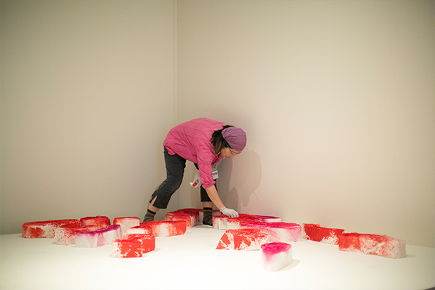 Kaori Ukaji installs 'Serenely Proliferating' just days before the exhibition opening.
