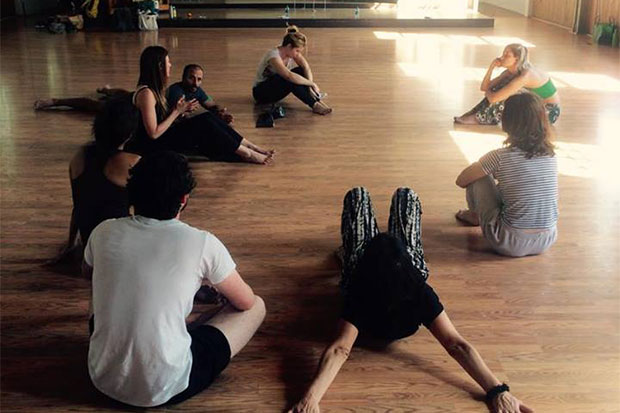 The performance team during a rehearsal.