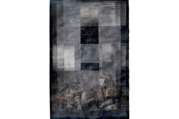 Bilgrami said that this dark piece—depicting mountains that towered over her childhood home in Hyderabad—is her favorite in the exhibition.