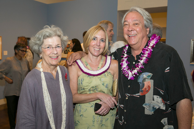 "Theresa Papanikolas, center, at the 2014 opening of ""Art Deco Hawai'i,"" another popular show that she curated."