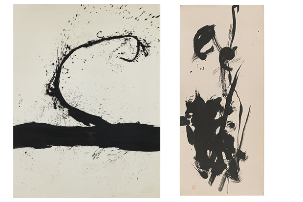 Left: Robert Motherwell (American, 1915‒1991). Untitled, 1963. Oil on canvas. Honolulu Museum of Art, Gift of The Contemporary Museum, Honolulu, 2011, and purchased with funds given by Persis Corporation and gift of the Dedalus Foundation (TCM.1997.1). Art © Dedalus Foundation/Licensed by VAGA, New York, NY. Right: Saburo Hasegawa (Japanese, 1906‒1957). Abstract Calligraphy, c. 1955–7. Ink on paper. 51 ¼ x 22 ¾ inches. San Francisco Museum of Modern Art, Gift of Joseph Brotherton. © Estate of Saburo Hasegawa. Photograph: Don Ross.