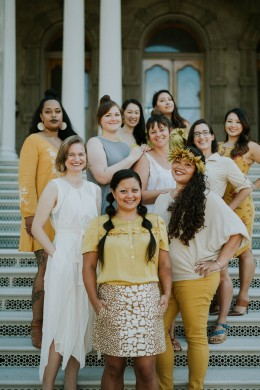 Museum staff on the steps of 'Iolani Palace. Image by Shaneika Aguilar