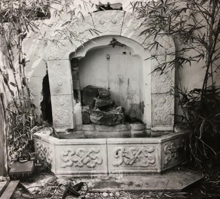 The marble fountain prior to its removal from the Fong building in 1989.