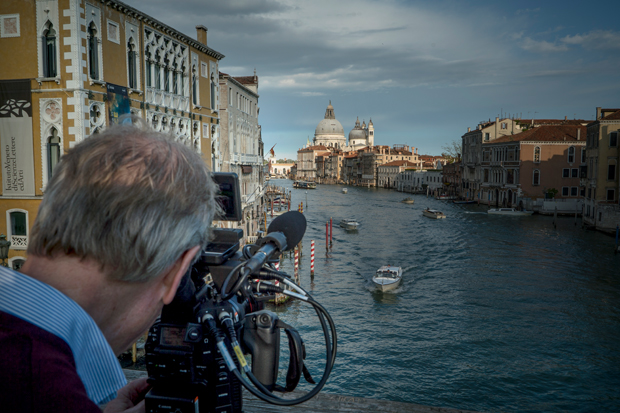 "A behind-the-scenes shot of the making of ""Canaletto and the Art of Venice"""