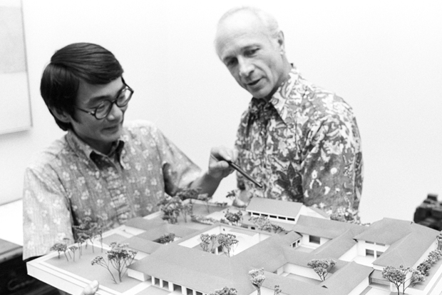 Jim Foster and architect John Hara review the model for the Clare Boothe Luce Wing in 1976.