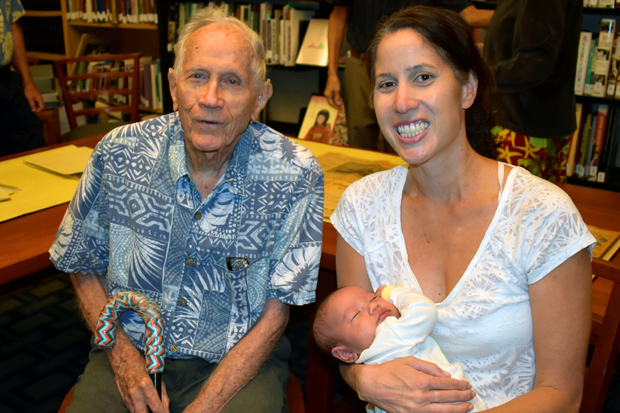 Richard Cox with his granddaughter Pia and great granddaughter Catharine, on her first museum visit.