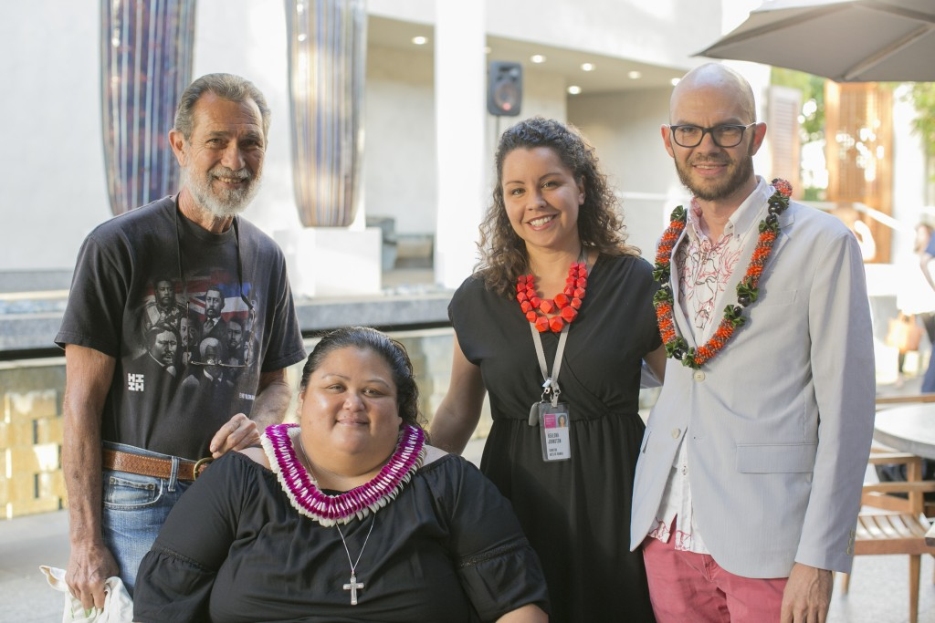 From left to right: Native Hawaiian activist Walter Ritte, founder of Sust ʻāina ble Molokai Malia Akutagawa, curator Healoha Johnston, and James Jack