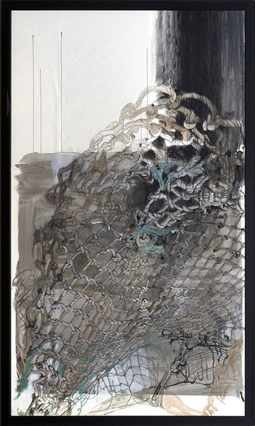 "Carol Bennett (American, born 1954), ""Falling Waterline,"" c. 2007, Graphite, acrylic, oil on Dacron sailcloth, Gift of The Contemporary Museum, Honolulu, 2011, and gift of Sharon and Thurston Twigg‑Smith, (TCM.2008.28), Copyright Carol Bennett"