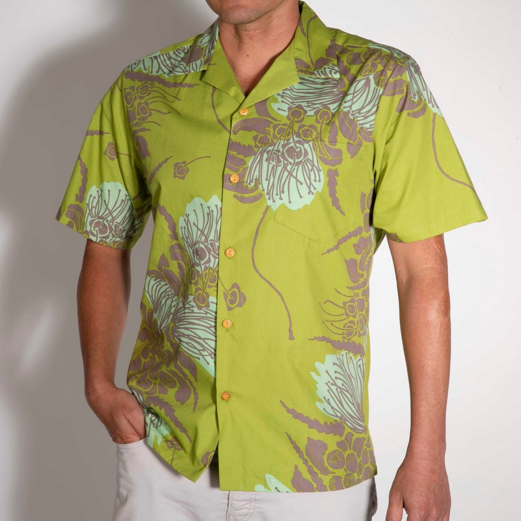 Dads who want to stand out in a crowd will rock this lime green Aloha shirt.