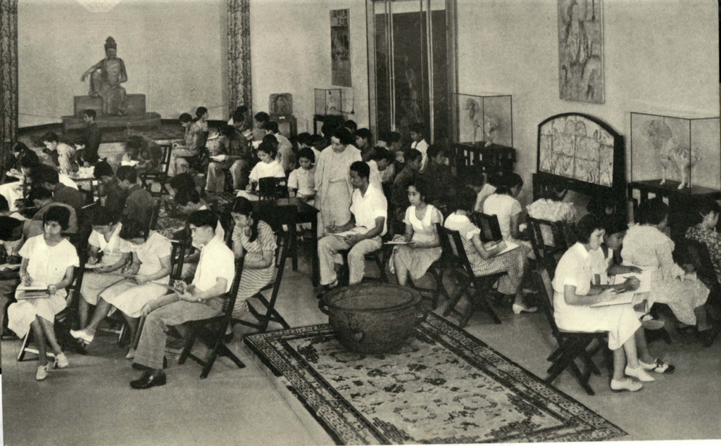 Students in the galleries from a Sept. 1938 Educational Bulletin.