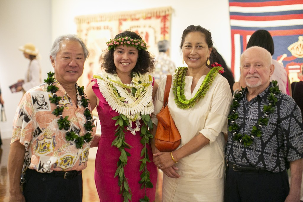 From left to right: Michael Horikawa (HoMA Trustee and exhibition donor), Healoha Johnston, Melanie Ide (President & Chief Executive Officer, Bishop Museum), Wayne Pitluck (Bishop Museum Trustee and exhibition donor