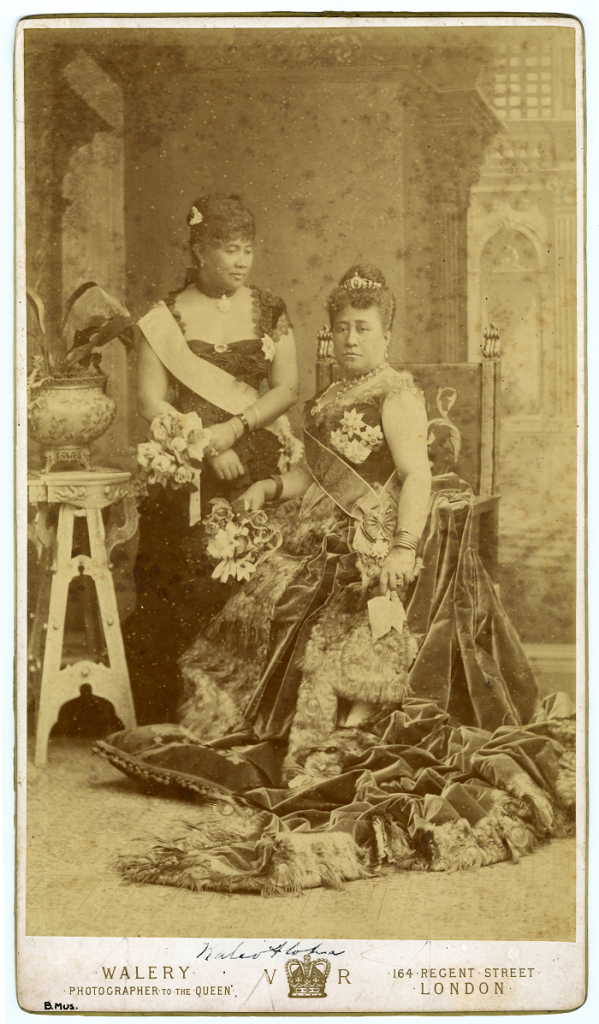 Walery Portrait of Princess Liliuʻokalani and Queen Kapiʻolani, London, 1887 Albumen print, board, ink and adhesive Bishop Museum Archives images courtesy of Bishop Museum Archives