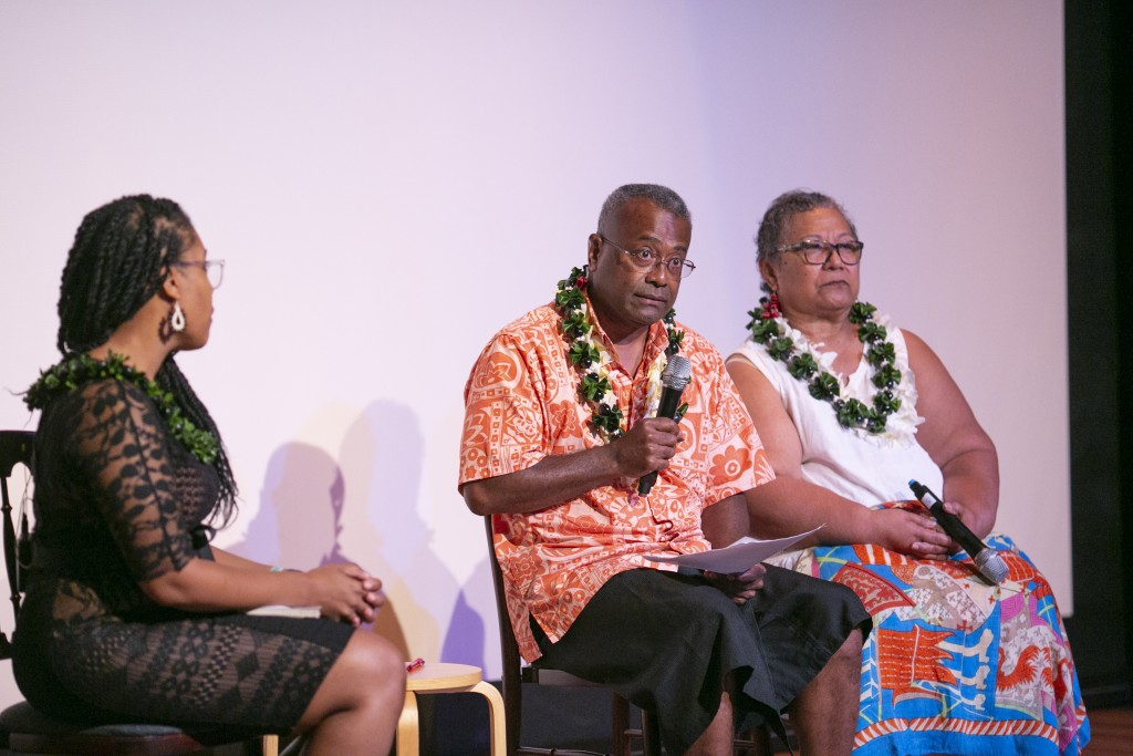 Dr. Ponipate Rokolekutu and Dr. Luafata Simanu-Klutz discussing the experience of Blackness in the Pacific, moderated by Dr. Akiemi Glenn. (Photo: Shuzo Uemoto)