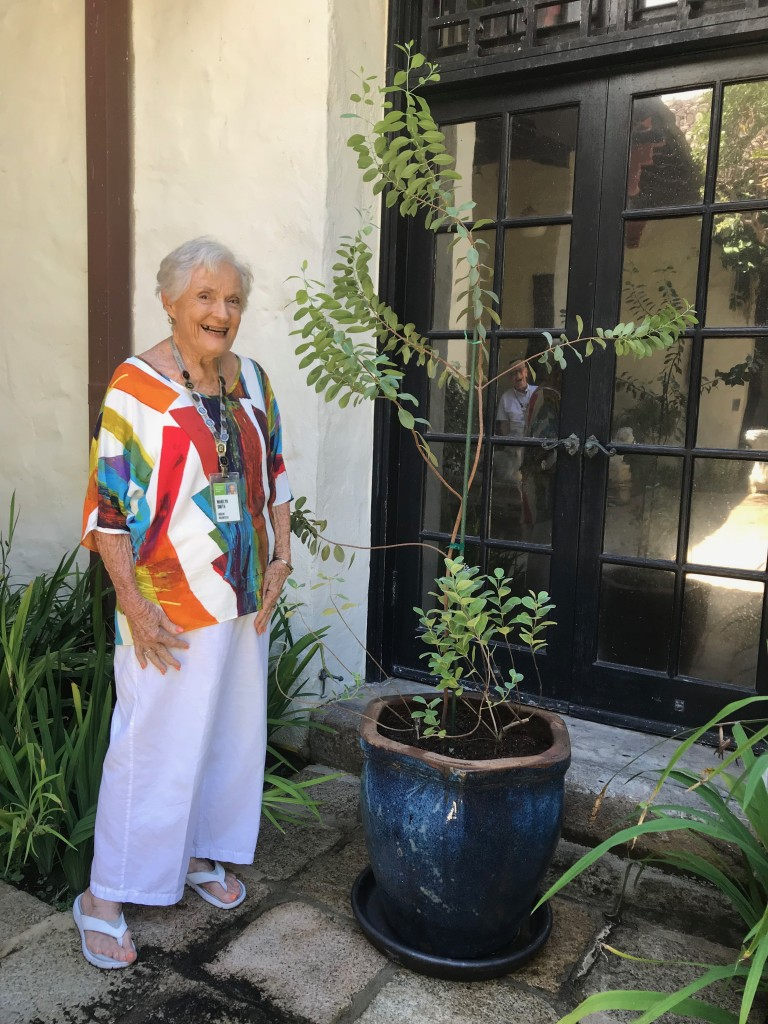 Marilyn Smith in front of the sandalwood tree, with a smiling Fred in the background.
