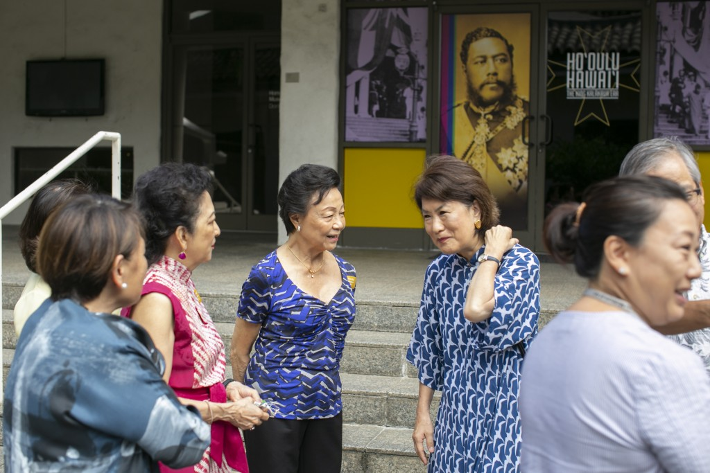 The group awaits the tour. From left to right: Violet S.W. Loo and Dawn Ige.