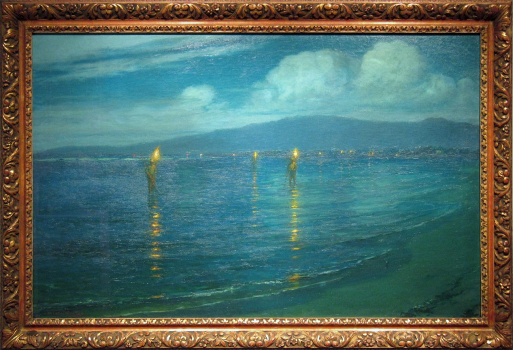 """Lionel Walden (1861-192) """"The Torchlight Fisherman, Waikiki, 1930"""" Oil on canvas board Bequest of Patches Damon Holt, 2003 (12702.1)"""