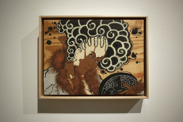 Rozeal (b. 1966). Untitled (after Kikugawa Eizan's Furyu Nana Komachi [The Modern Seven Komashi]), 2007. Acrylic and paper on wooden panel. Courtesy Rubell Museum, Miami. © Rozeal.