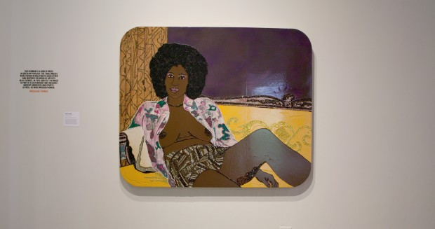 Mickalene Thomas (b. 1971). Hotter than July, 2005. Acrylic, rhinestone and enamel on wooden panel. Courtesy Rubell Museum, Miami. © Mickalene Thomas