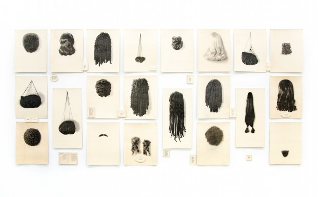 Lorna Simpson (b. 1960). Wigs (Portfolio), 1994. Waterless lithograph and felt. Courtesy Rubell Museum, Miami. © Lorna Simpson.