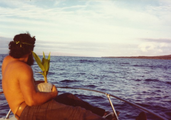 George Helm carrying a sprouted coconut to the island of Kahoʻolawe. A symbol of rebirth and healing to the land and its people.Photo courtesy of the Protect Kahoʻolawe ʻOhana.